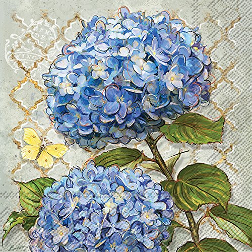 Celebrate the Home Floral 3-Ply Paper Luncheon Napkins, Blue Heirloom Flowers, (Napkins Hydrangea)