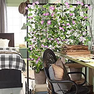 GTIDEA Artificial Vines, 2pcs 15Feet Morning Glory Hanging Plants Silk Garland Fake Green Plant Home Garden Wall Fence Stairway Outdoor Wedding Hanging Baskets Decor Purple 4