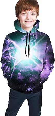 Sudaderas con Capucha Niño Cool Children's Hoodie 3D Printing Youth Pullover Casual Sweatshirt Boys and Girls Galaxy Space Backgrounds