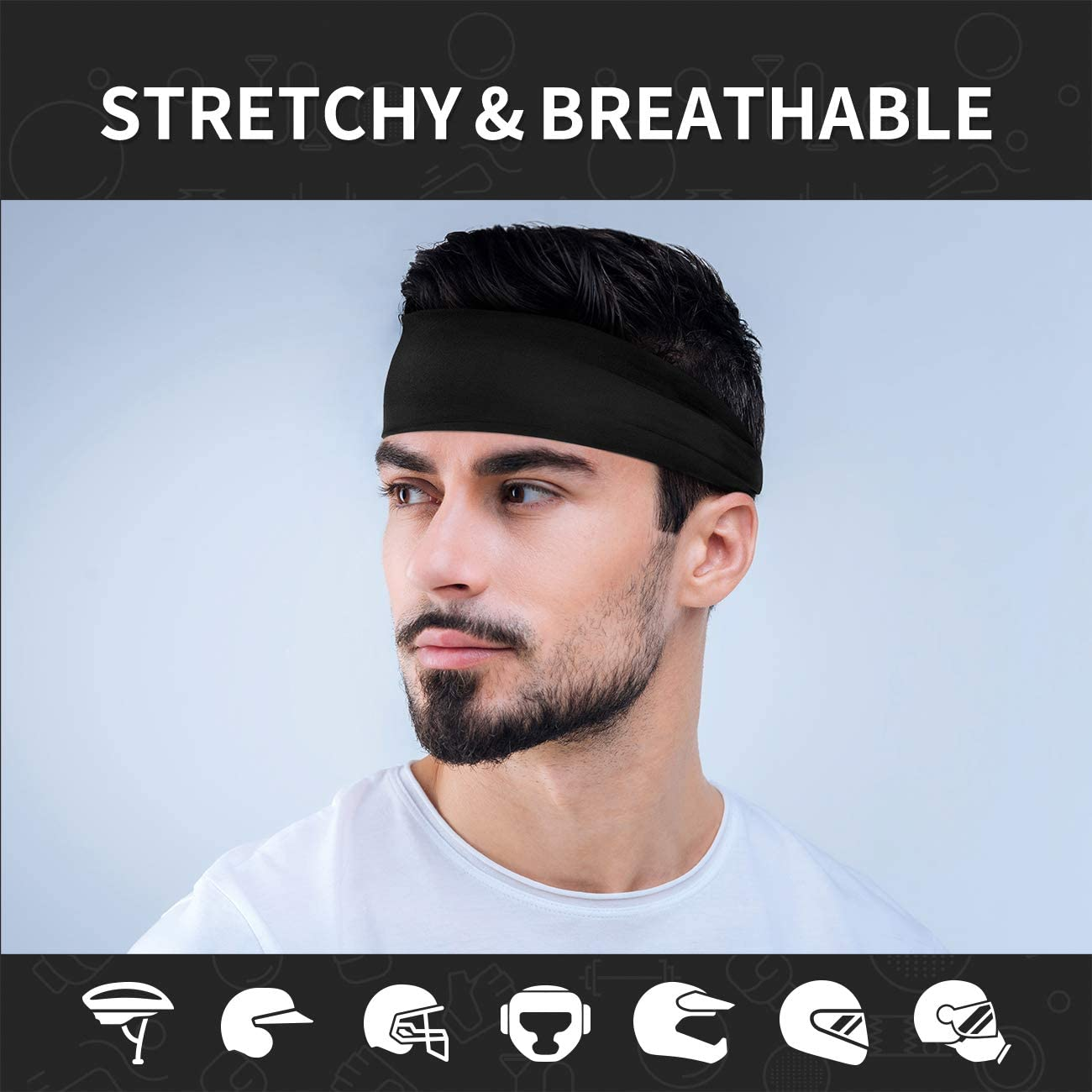 Vinsguir Sports Headbands for Men and Women Cross Training Unisex Hairband Yoga and Bike Non Slip Lightweight Sweat Band Moisture Wicking Workout Sweatbands for Running