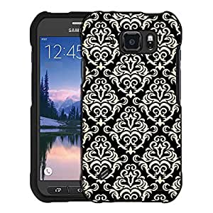 Samsung Galaxy S6 Active Case, Snap On Cover by Trek Beautiful Vintage Pattern on Black Case