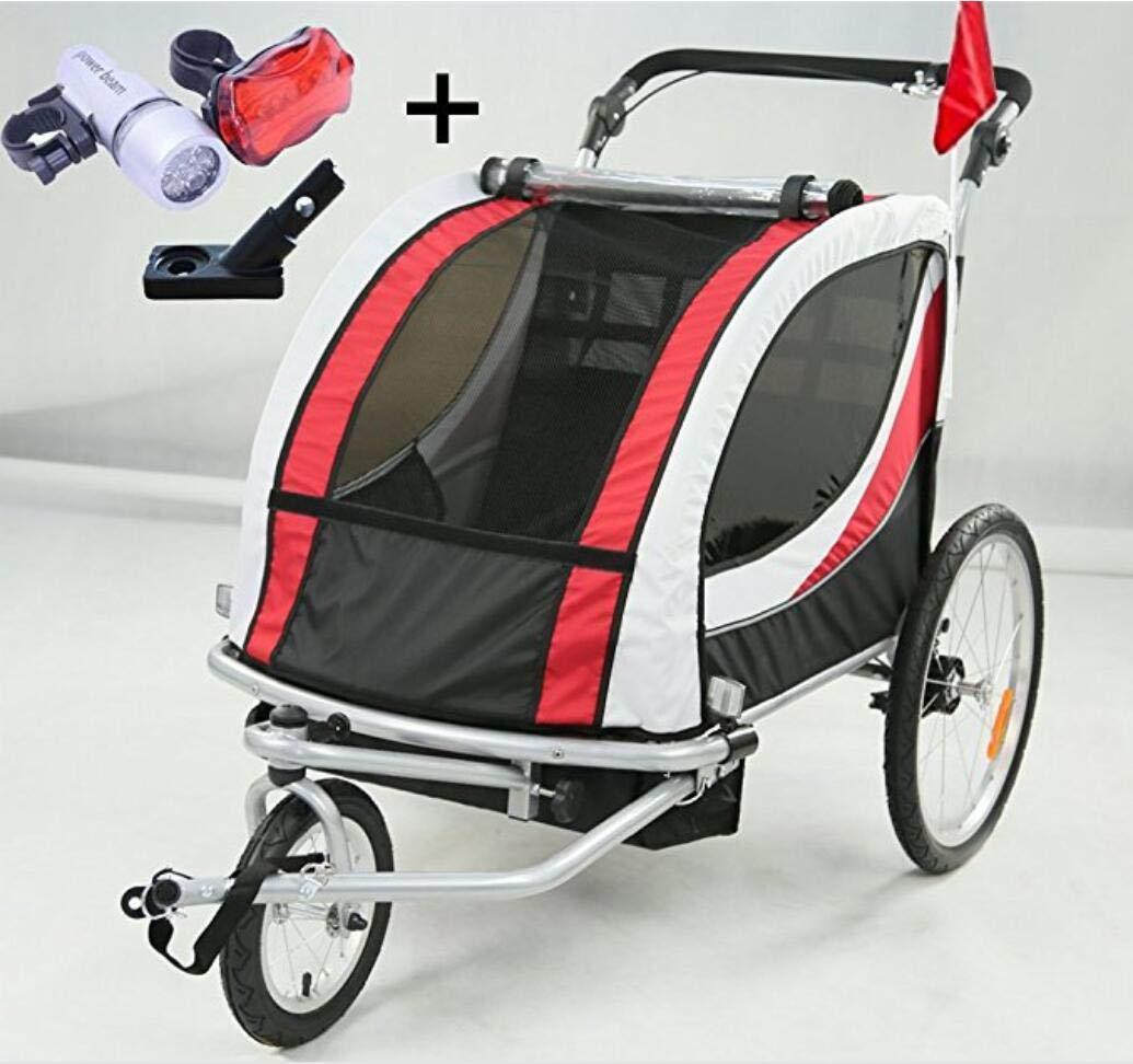 NTS Remorque de vélo 2 en 1 pour enfants, poussette, roulette avant rotative à 360° pour 1-2 enfants, joggy, avec embrayage et éclairage (rouge et blanc) roulette avant rotative à 360° pour 1-2 enfants NTS-JG01-RW-001