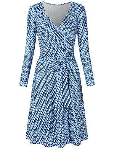 SUNGLORY Wrap Dress, Women's Wrap Dresses V-Neck Vintage Style Party Dress S from SUNGLORY