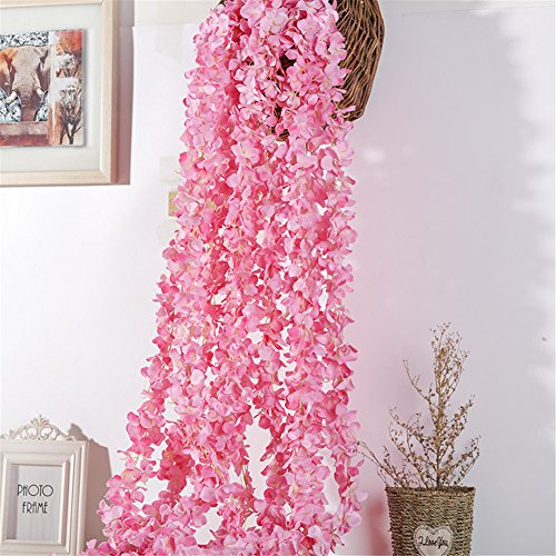 Crt Gucy 2 Pack 13 FT Artificial Hydrangea Flower Vine Wisteria Vines Cattleya Flowers Plants For Home Hotel Office Wedding Party Garden Craft Art Décor, Dark Pink