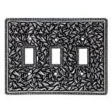 Vicenza Designs WPJ7007 San Michele Wall Plate with Jumbo Triple Toggle Opening, Antique Silver