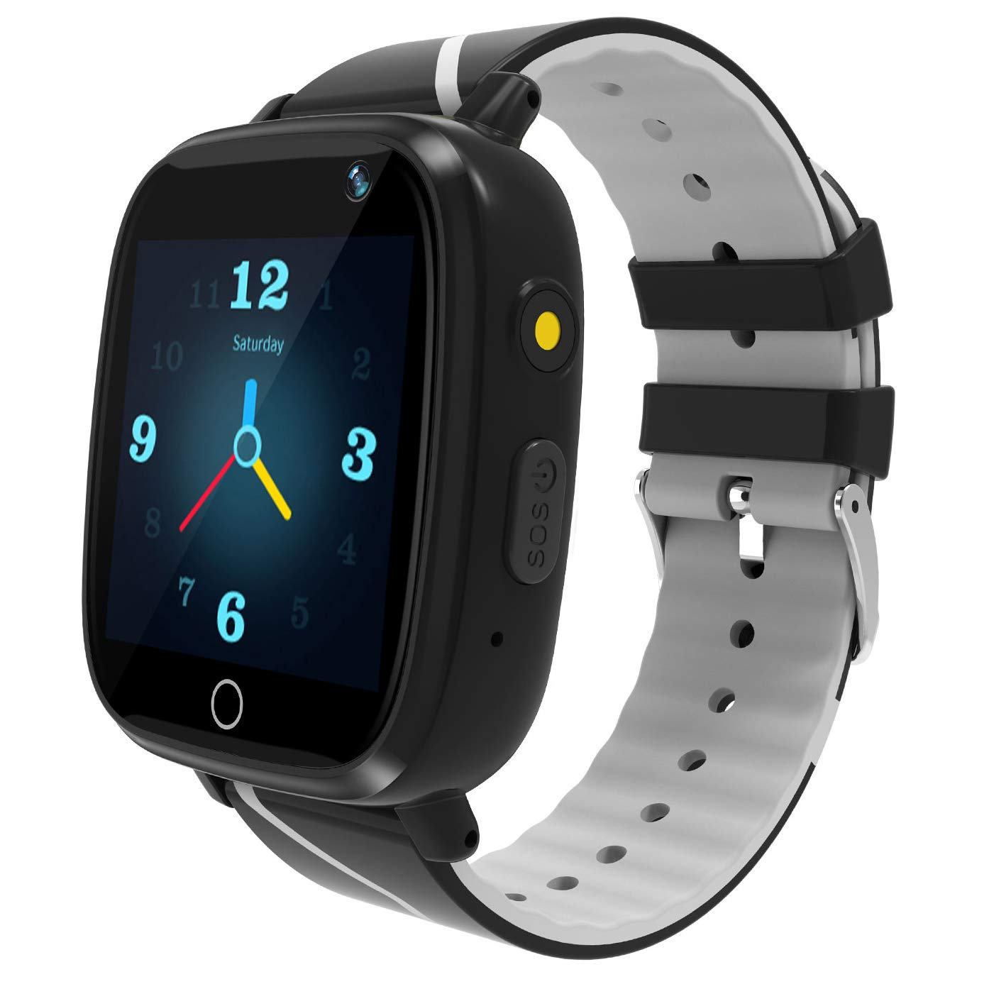 Kids Smart Watch GPS Tracker - Waterproof GPS Tracker Watch for Children Girls Boys with SOS Call Camera Touch Screen Game Alarm for Kids Boys and Girls ... (1Black) by Karaforna