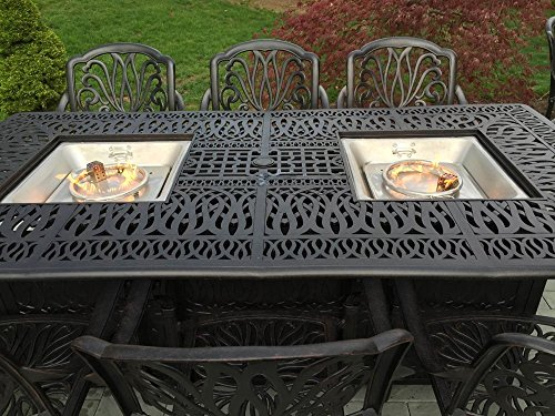 Cheap Cast Aluminum Patio Furniture Elisabeth 9 Piece Patio Dining Set Double Burner Propane Table