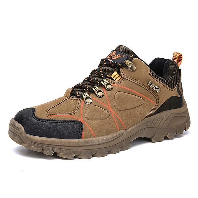 FHTD Zapatos para caminar para hombre Zapatillas de deporte antideslizantes Botas de trekking Piel de ante de corte,Brown,46: Amazon.es: Ropa y accesorios
