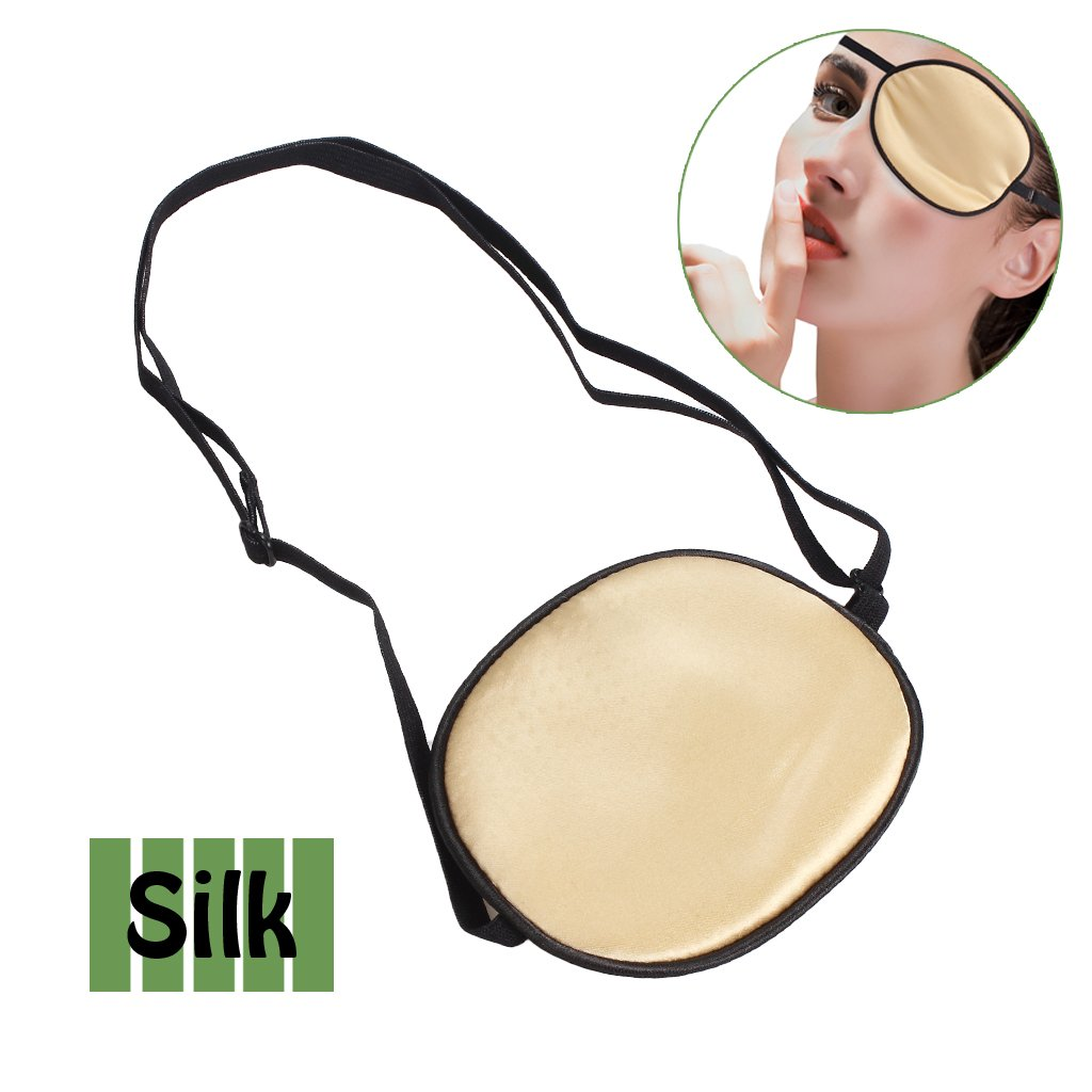 Pure Silk Eye Patch For Adults, Amblyopia Obscure Astigmatism Training Strabismus Correction Beige ewinever