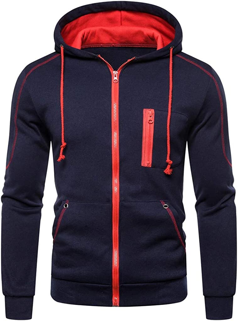 ZhixiaYS Men Long Sleeve Hooded Sweatshirt Zipper Pullover Hoodie Outwear Tops Blouse