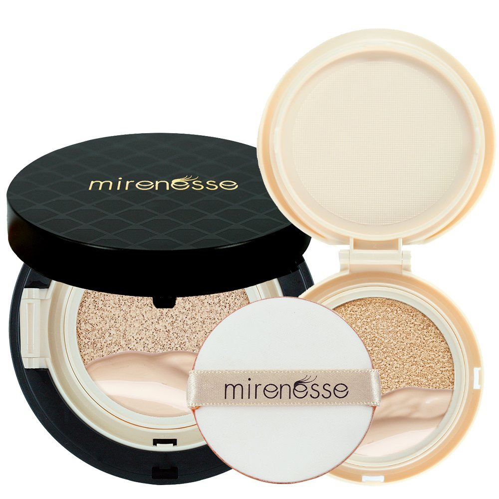 """Mirenesse Cosmetics"" 10 Collagen Cushion Foundation Compact Airbrush Liquid Powder SPF25 PA + Free Refill (15g/0.52oz) - Shade 13. Vanilla - AUTHENTIC"