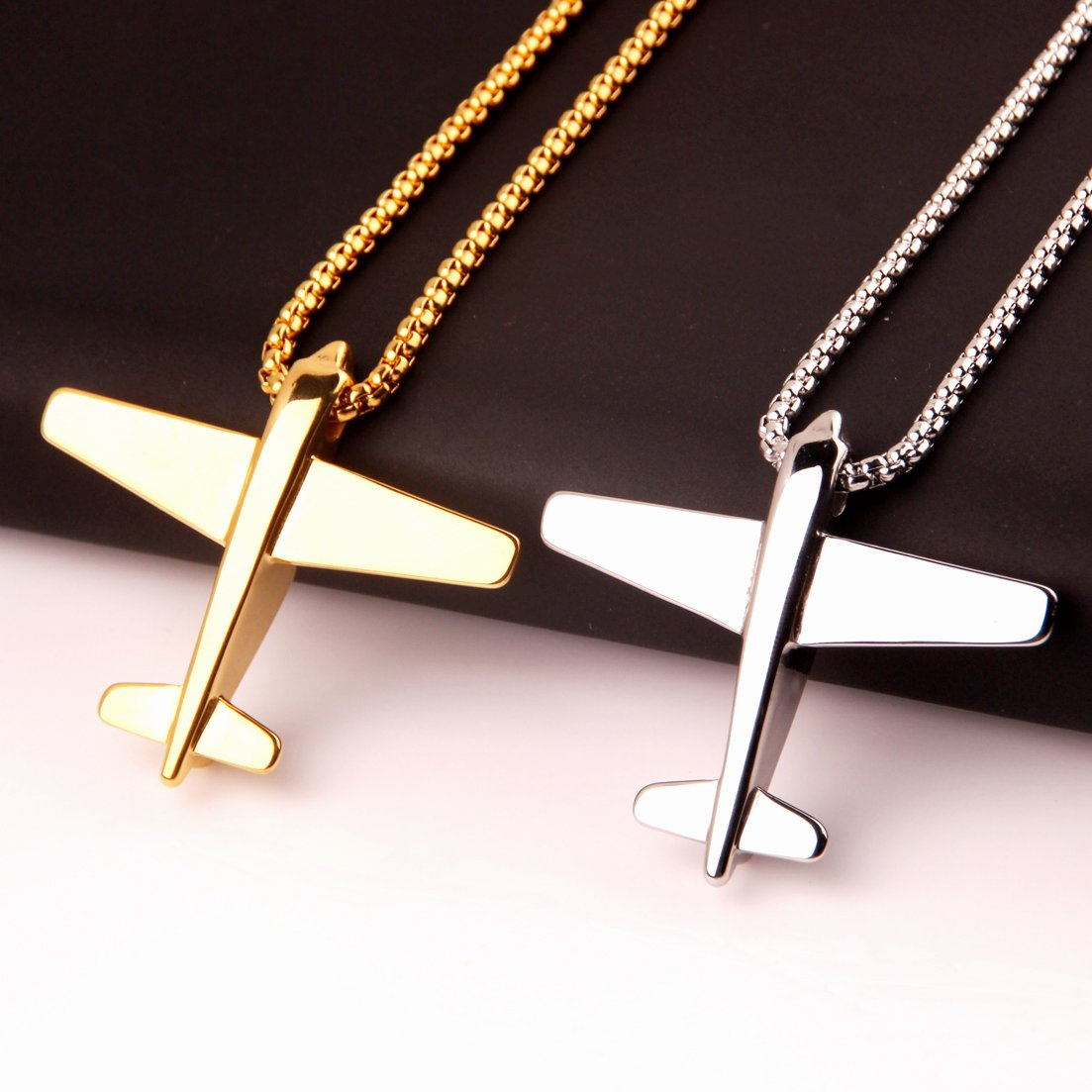 Jewelry Kingdom 1 Fashion Silver Gold Black Stainless Steel Aircraft Pendant Mens Necklace