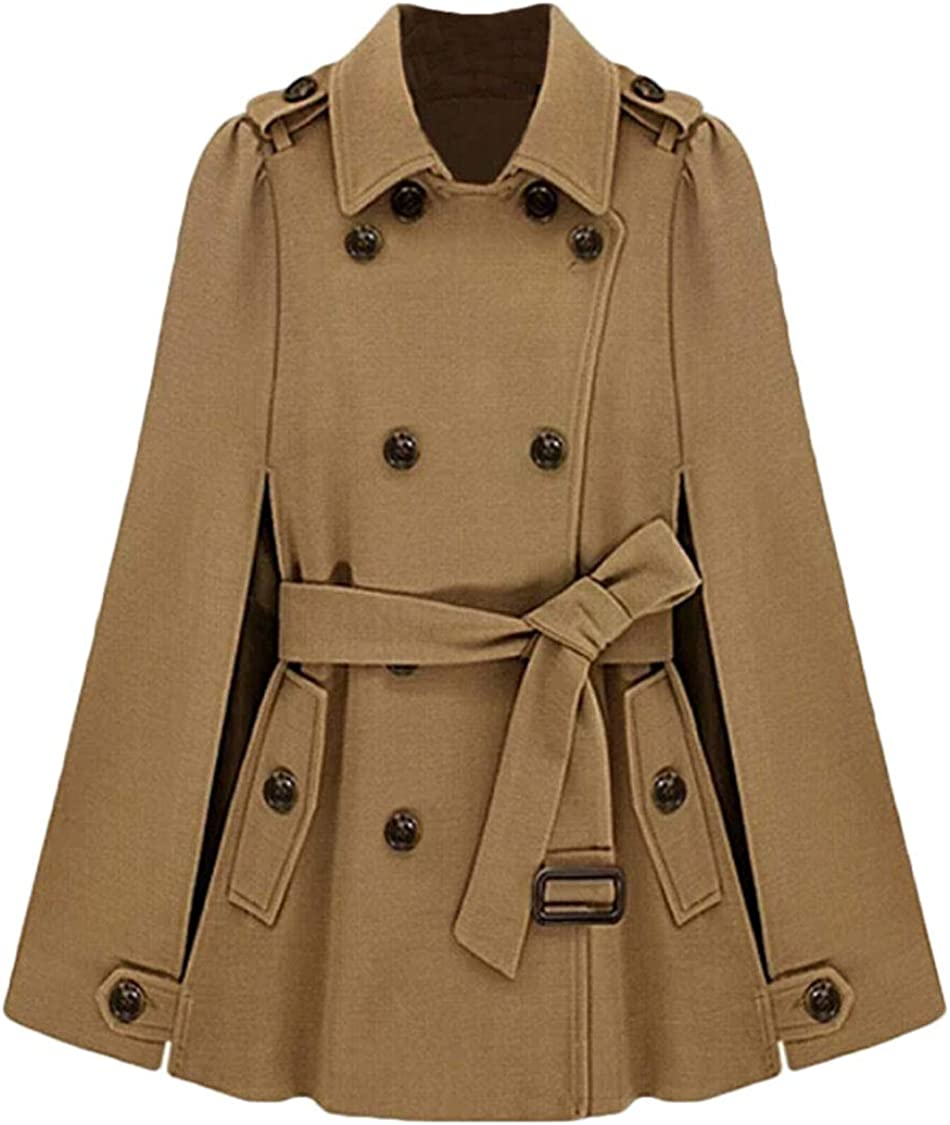 Hmarkt Womens Belted Poncho Double-Breasted Woolen Basic Long Trench Coat