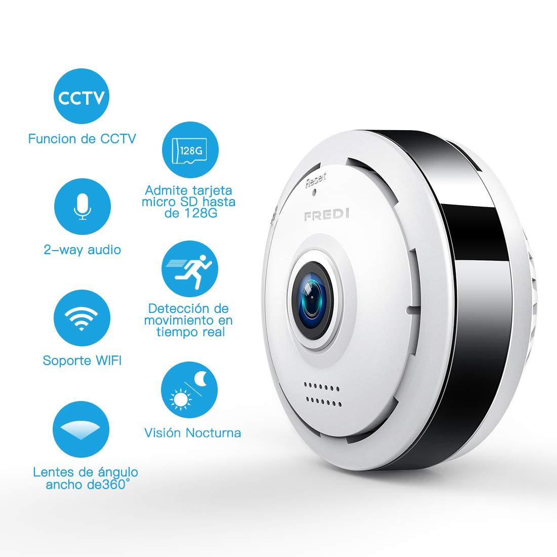 960P HD IP Wifi Cámara de Seguridad FREDI, Cámara de Vigilancia Panorámica de 360 grados, Deteccion de Movimiento con Visión Nocturna de Infrarrojos ...
