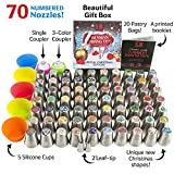 100pc Russian cake tips Special edition! 70 NEW design numbered stainless steel nozzles,2leaf tip, 3-color+ single coupler, 20 pastry bags, 5 silicon cake cups, Christmas tips, largest set