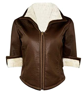 Overwatch Tracer Fanart Fur Brown Leather Jacket At Amazon Women S