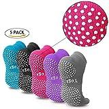 Pseudois Pack of 5 Non Slip Skid Yoga Pilates Socks Five Toe Separator Socks with Grips Cotton for Women Multi Pack
