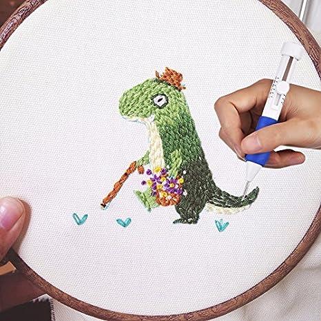 Blanco sunnyflowf 1 Unidades Magic Embroidery Pen Herramienta de Tejido de Agujas de Bordar Kits de fantas/ía Jj3-3-10