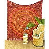 Eyes of India - Large Queen Burgundy Red Elephant Boho Bohemian Indian Mandala Tapestry Bedspread Beach Blanket Dorm