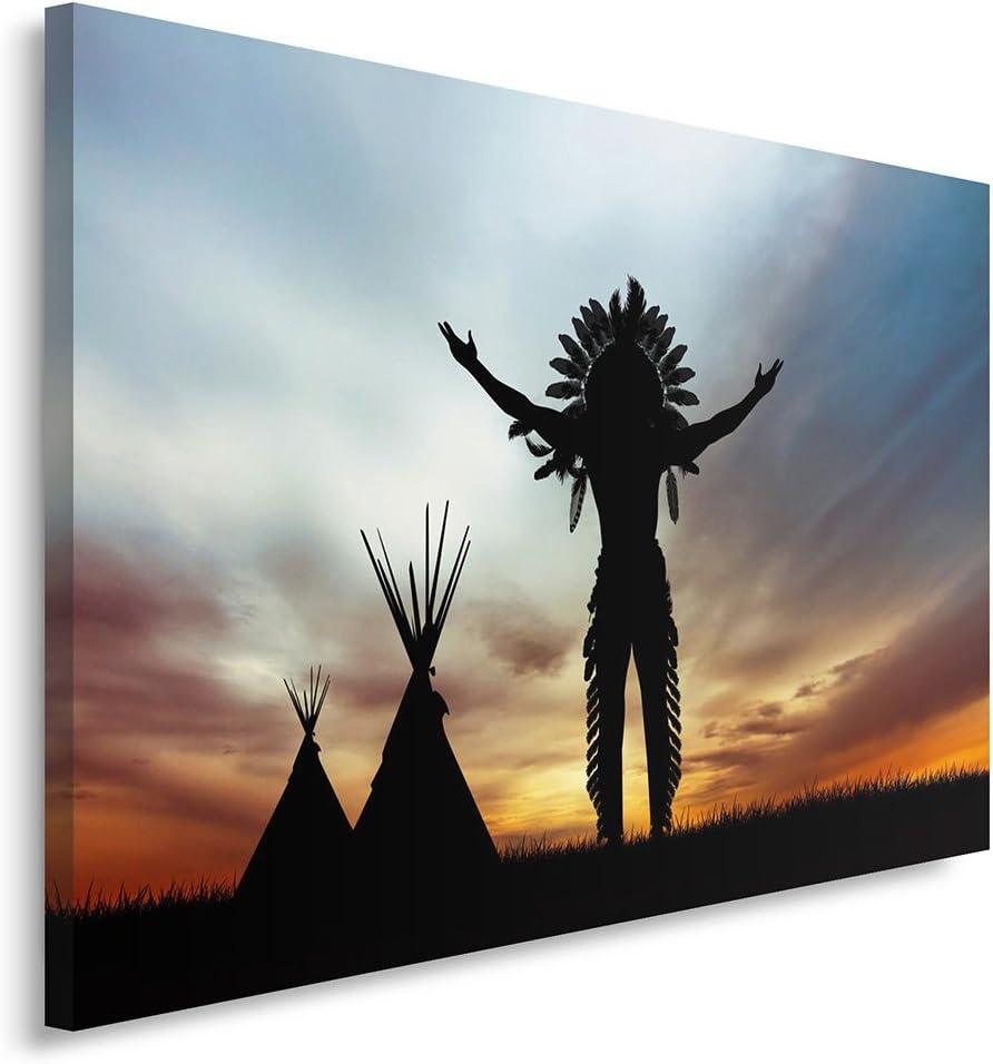 Feeby. Cuadro en Lienzo - 1 Parte - 80x120 cm, Imagen impresión Pintura decoración Cuadros de una Pieza, Indio Nativo Americano, Negro