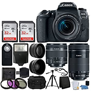 Canon EOS 77D DSLR Camera + Canon EF-S 18-55mm f/4-5.6 IS STM Lens + Canon EF-S 55-250mm f/4-5.6 IS STM Lens + Wide Angle & Telephoto Lens + 64GB Memory Card + Wireless Remote + Value Accessory Bundle