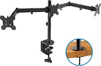 HUANUO Triple Monitor Stand | Adjustable 3 Arm Monitor Desk Mount Fits 19 20 21 22 23 24 Inch Flat/Curved Screens with Clamp, Grommet Mounting Base | VESA Compatible Tri Monitor Holder