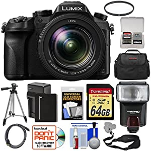 Panasonic Lumix DMC-FZ2500 4K Wi-Fi Digital Camera with 64GB Card + Battery & Charger + Case + Flash + Tripod + Filter + Strap + Kit