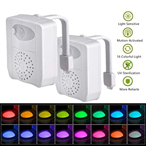 2-Pack iBetterLife UV-C Sanitizer Toilet Night Light, Motion Activated 16 Colors Waterproof Inside Toilet Bowl Nightlight, Infrared Detection Sensor Shark Tank Seat Lamp Fixtures w/Aromatherapy