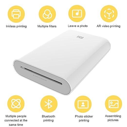 Zip - Impresora Móvil,para Xiaomi Mijia AR Impresora 300 dpi Portátil Foto Mini Bolsillo con DIY Compartir 500mAh Imagen,Bluetooth,USB,5 x 7.6 cm ...