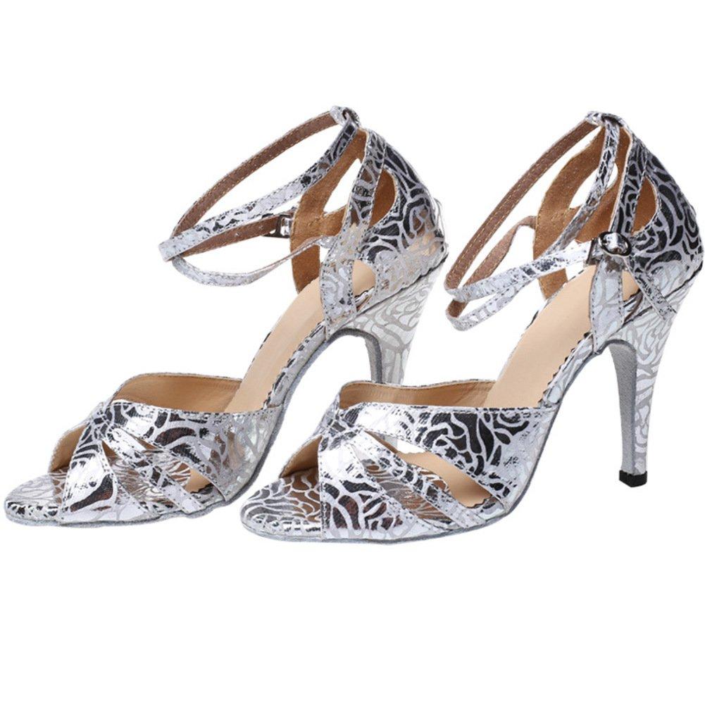 Amazon.com | GUOSHIJITUAN Women's Latin Dance Shoes, High Heels Ballroom  Dance Shoes Soft Bottom Silver Women's Ballroom Shoes | Pumps