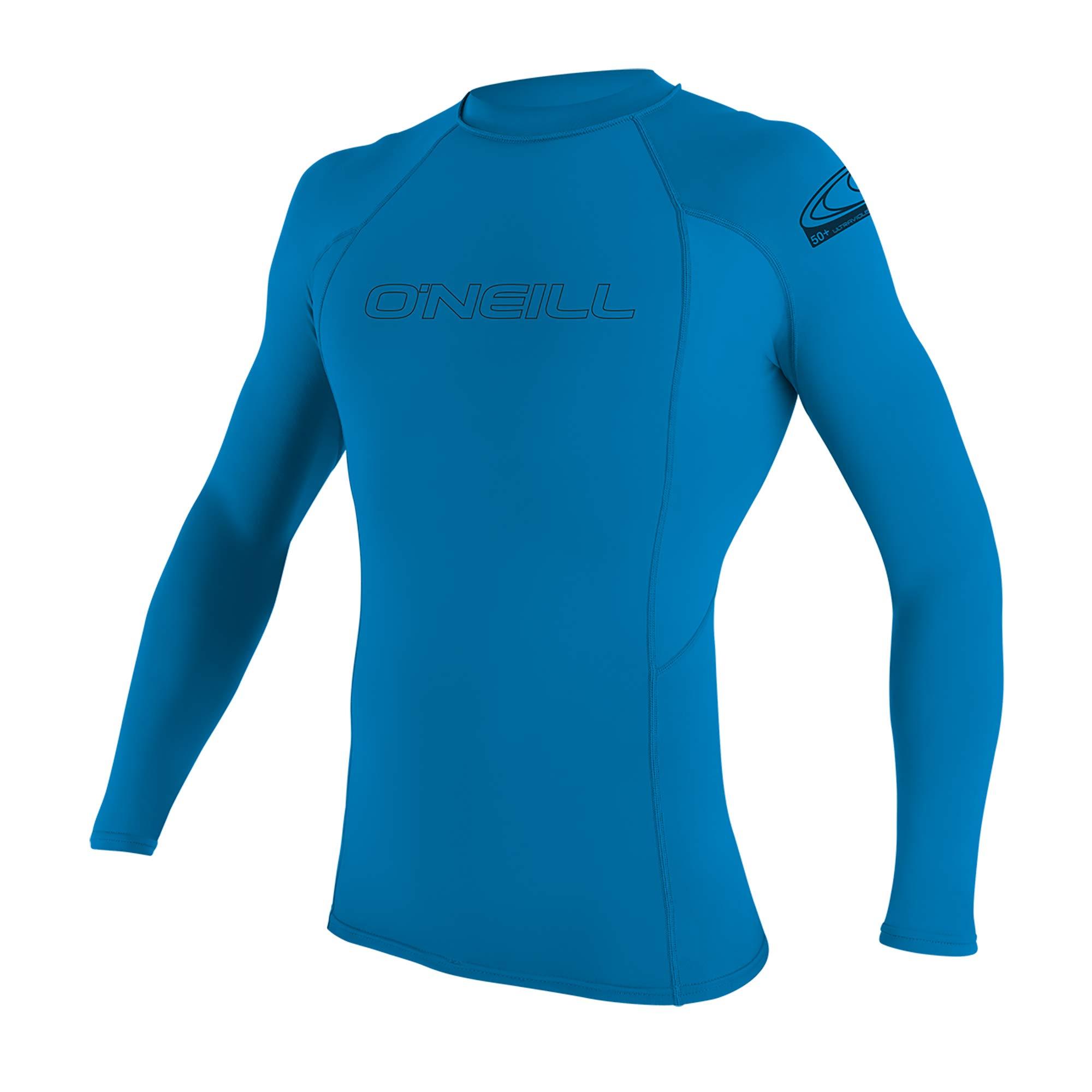 O'Neill Youth Basic Skins UPF 50+ Long Sleeve Rash Guard, Bright Blue, 4