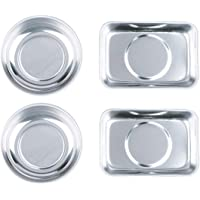 HORUSDY 4-Piece Mini Magnet Trays Set, Round(3-in)square(3.6-in) Magnetic Trays Tools Parts Tray Holder