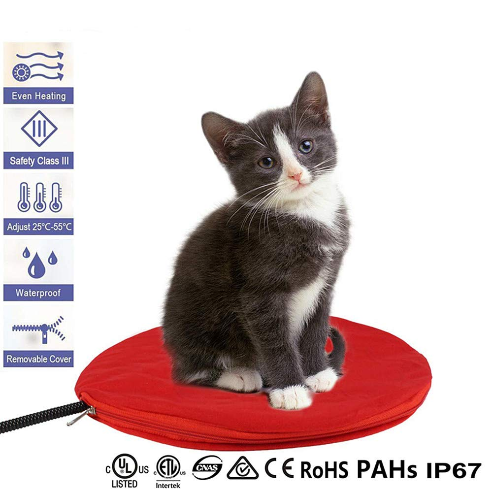 FLYMEI Pet Electric Heating Pad Waterproof Electric Warming Mat for Dogs & Cats with Chew Resistant Cord, Soft Removable Cover, Overheat Protection with UL Cert Adaptor (Red)
