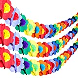 Tatuo 3 Pieces 9 Feet Hawaiian Tropical Multicolor Tissue Paper Garland Flower Hanging Banner for Hawaiian Luau Party Supplies