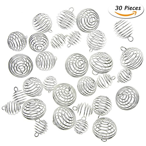 KeyZone 30 Pieces Silver Plated Spiral Bead Cages Pendants for Jewelry Making, 3 Sizes