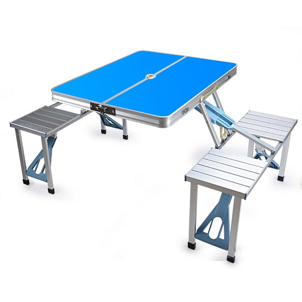 YXX- ウッドスクエア折りたたみテーブルと椅子ハンドル&サンの傘の穴キャンプ用屋外ヘビーデューティ折り畳み式ダイニング&コンピュータデスク (色 : 青) B07DS9TYSJ 青