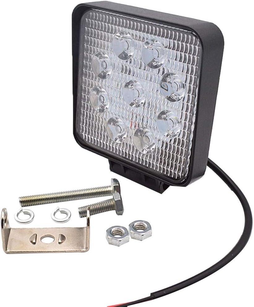 Grebest Car Light Headlight Working Light 27W 1700lm 9 LED Square Off Road Truck Working Light Inspection Lamp Spotlight