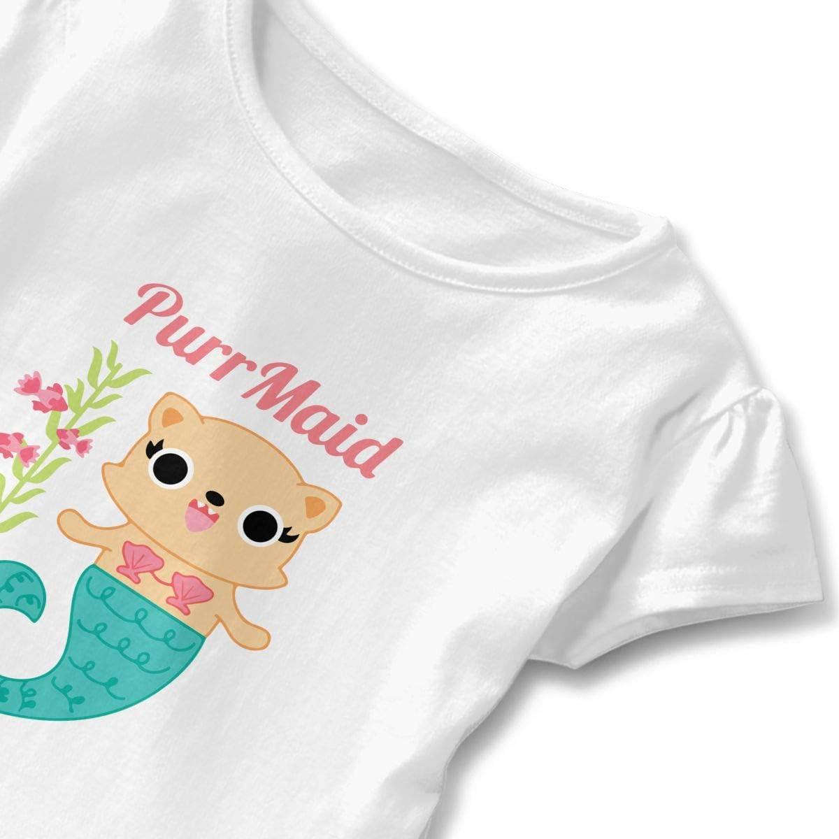 Cheng Jian Bo PurrMaid by Boredinc Toddler Girls T Shirt Kids Cotton Short Sleeve Ruffle Tee