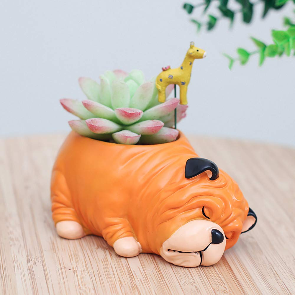 Transer Cute Bulldog Cartoon Animal Flowerpot, Resin Succulent Planter Plant Pot Cactus Flower Bonsai Plant Pots Container Desk Mini Office Desktop Decoration Ornament I