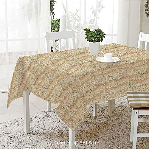 (Tablecloths 3D Print Cover Vintage Handwriting Letters Old Paper Effect Old Fashioned Communication Decorative Party Home Kitchen Restaurant Decorations(W60)
