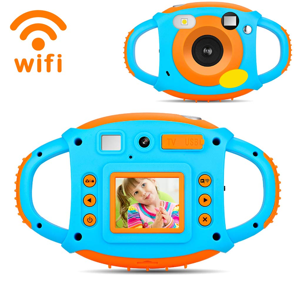 Digital Camera for Kids, HD 1080P Kids Camera with Flash Microphone WiFi, Soft Plastic Anti-Drop, 7 Color Filter Effect Kids Video Camera for Girls/Boys