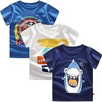 Guozyun Baby T-Shirt Newborn Infant Toddler Baby Boy's Short Sleeve Boys Cotton Tees Kids Shirt Undershirt 0Months - 4T