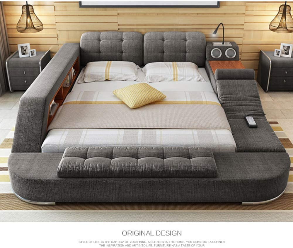 TB9 Europe and America Hemp Fabric Soft Bed Frame Bedroom