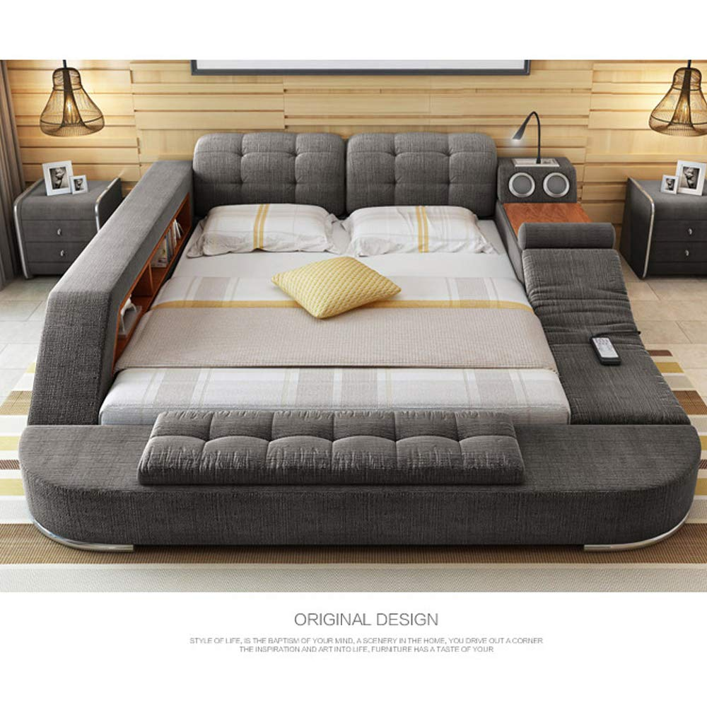 Tb024 Europe And America Hemp Fabric Soft Bed Frame Bedroom Furniture With Speaker Massage Sofa Storage Box Multifunction Bed Buy Online In China At China Desertcart Com Productid 168211258