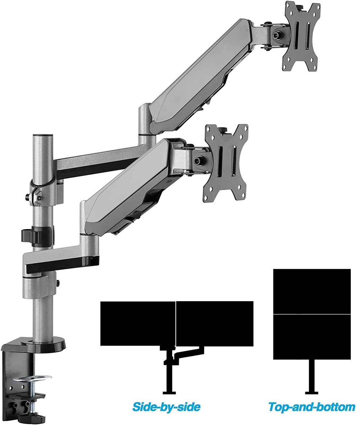 """AVLT-Power Dual 27"""" Monitor Stackable Desk Stand - Mount Two 17.6 lbs Computer Monitors on 2 Full Motion Adjustable Arms - Organize Your Work Surface with Ergonomic Viewing Angle VESA Monitor Riser"""