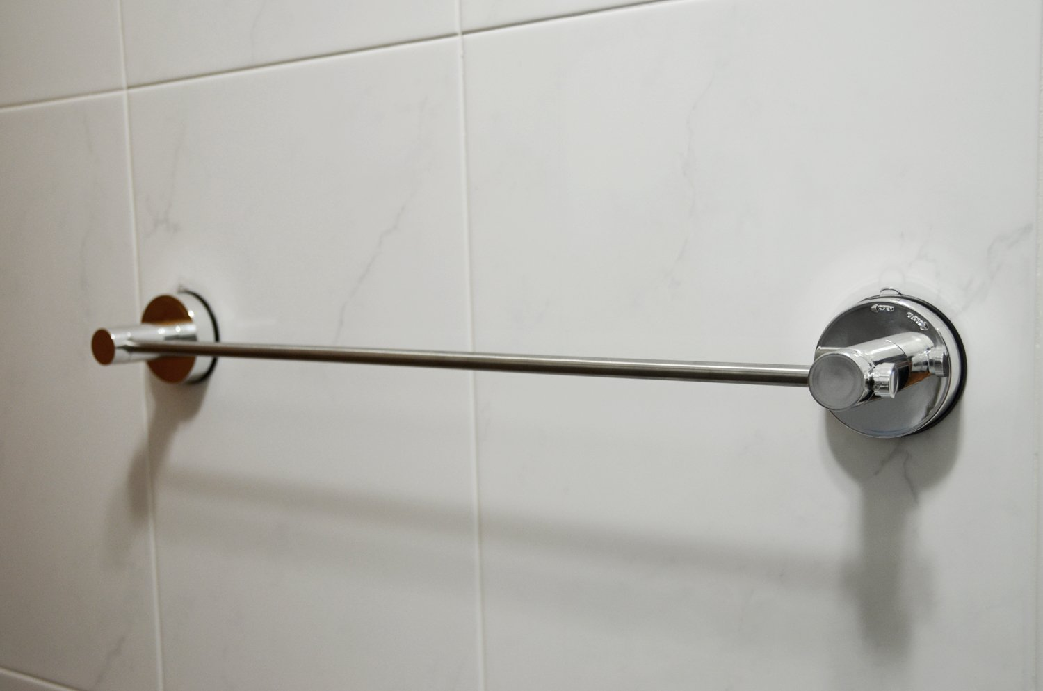 Genexice Chrome Towel Bar with Rotate & Lock Power Gel Suction Cups