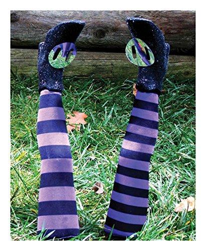 Fun World Striped Witch Legs Yard Stakes (Purple)