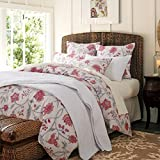 Softta Shabby Flower Farmhouse Bedding Design 800 Thread Count 100% Cotton 3Pcs Duvet Cover Set,King Size,Color 4