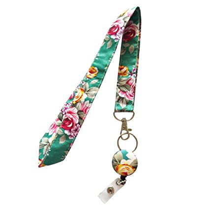 Amazon.com   Surlove Womens Office Flower Neck Strap Retractable ... 7e3e45c06b