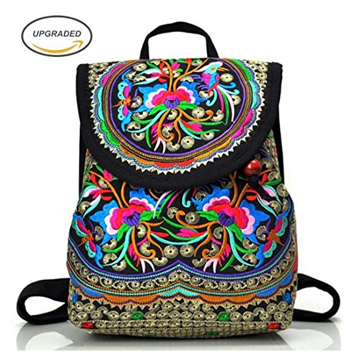 Goodhan Vintage Women Embroidery Ethnic Backpack Travel Handbag Shoulder Bag Mochila by Goodhan